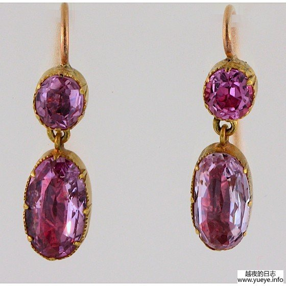 GEORGIAN FOILED PINK TOPAZ EARRINGS