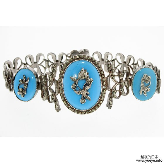 GEORGIAN PYRITES AND ENAMEL BRACELET